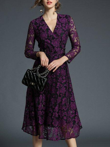 Purple Long Sleeve A-line Surplice Neck Midi Dress