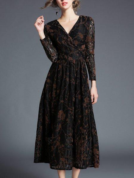 Flocked A-line Long Sleeve Lace Wrap Dress