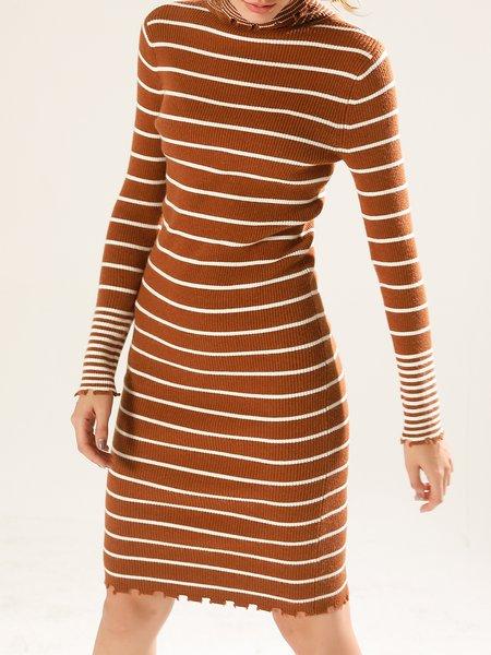 Sheath Turtleneck Knitted Long Sleeve Casual Sweater Dress