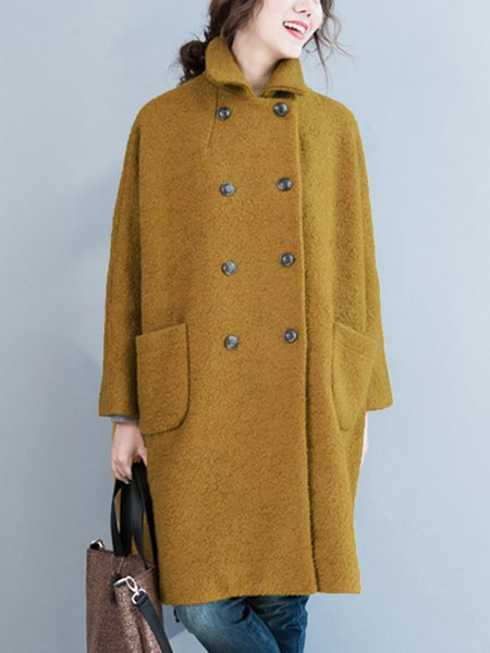 Long Sleeve Shift Stand Collar Casual Coat