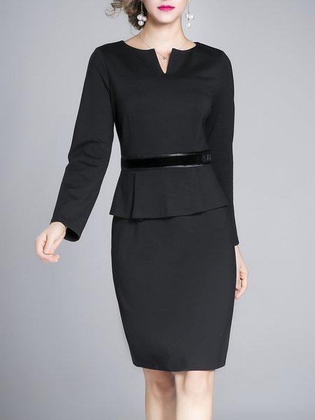 Plus Size Black Polyester Long Sleeve Sheath Crew Neck Midi Dress
