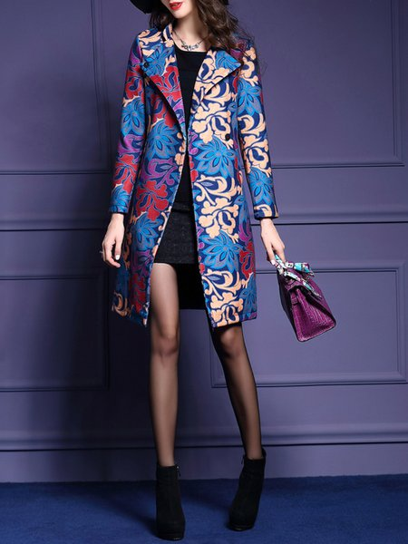 Multicolor Long Sleeve V Neck Polyester Jacquard Coat