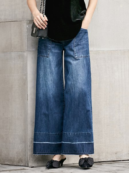 Casual Plain Shift Figure Flattering Wide Leg Pants