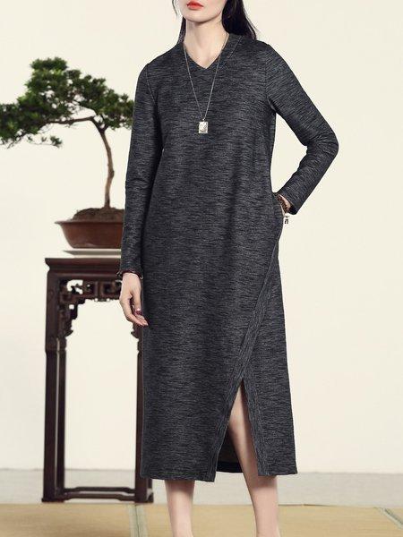 Cotton-blend Shift Long Sleeve Simple Plain Midi Dress