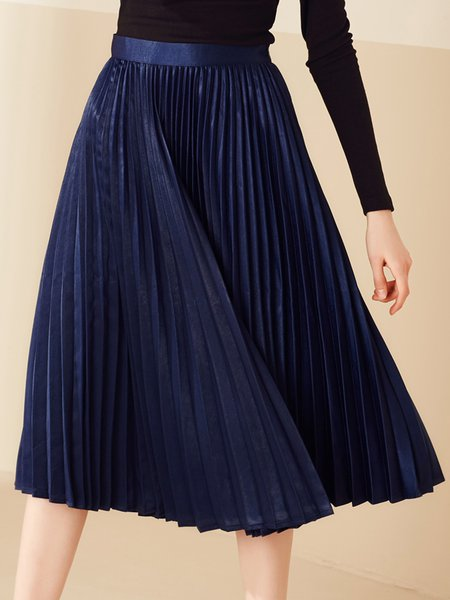 Casual Pleated Polyester Solid Midi Skirt