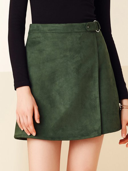 Army Green Buckle A-line Solid Casual Mini Skirt