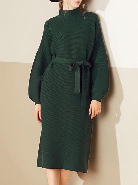Turtleneck Balloon Sleeve Cotton-blend Sweater Dress with Belt