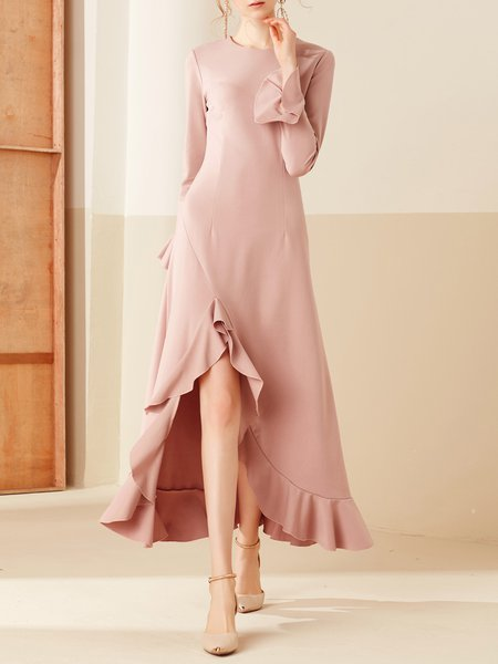 Crew Neck Frill Sleeve Elegant Ruffled High Low Maxi Dress