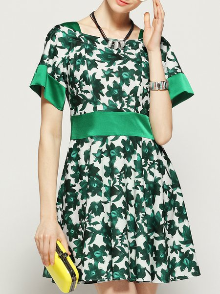 Green Floral Print Square Neck A-line Short Sleeve Mini Dress