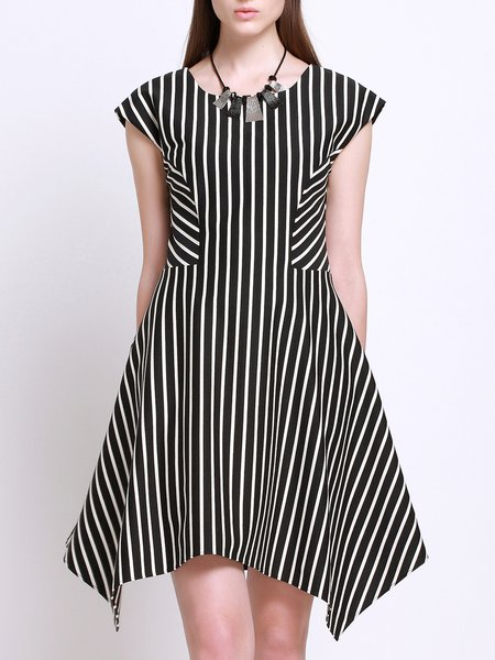 Cotton Simple Stripes Asymmetric Short Sleeve Mini Dress