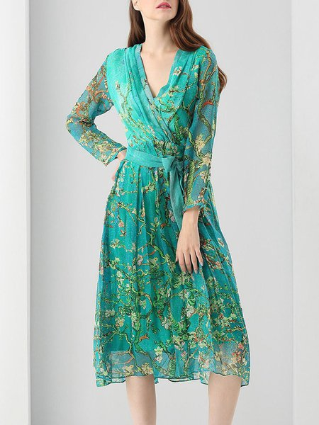 Blue Silk Long Sleeve Floral-print Midi Dress