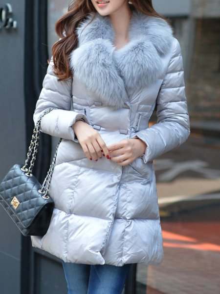 Gray Plain Pockets Long Sleeve Polyester Down Coat