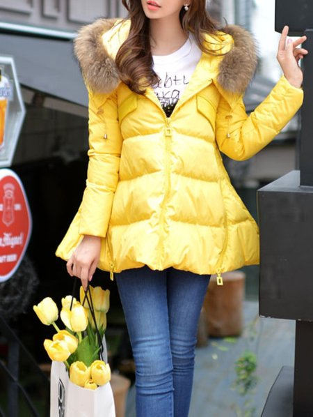 Yellow Polyester Long Sleeve Parka