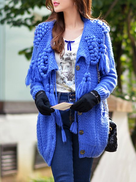 Blue V Neck Long Sleeve Cardigan