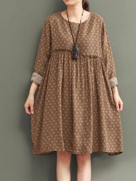 Retro Floral Casual Loose Long Sleeves Khaki Dress