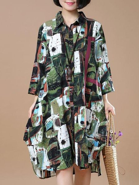 Green Abstract Long Sleeve Linen Dress