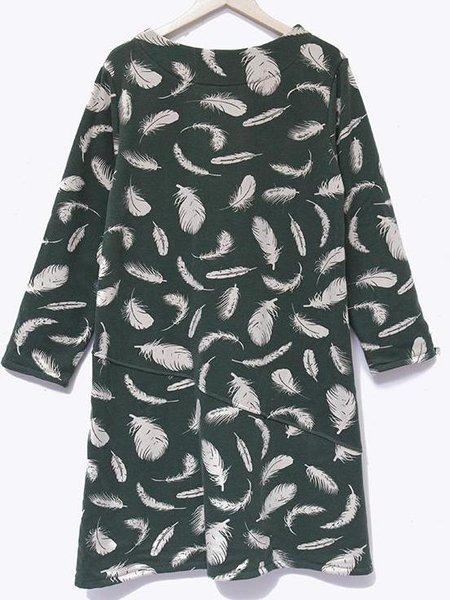 Long Sleeve Casual Pockets Wool Blend Linen Dress