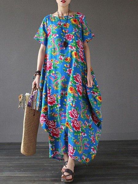 Blue Crew Neck Floral Cotton Casual Linen Dress