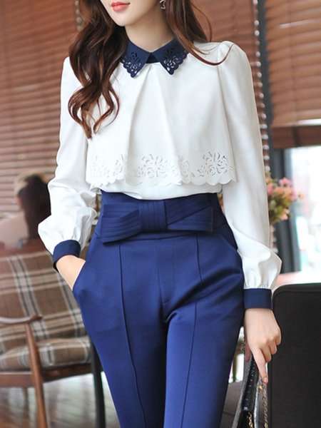 White Long Sleeve Pierced Polyester V Neck Blouse