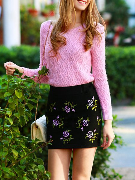 Pink Plain Wool Blend Long Sleeve Sweater