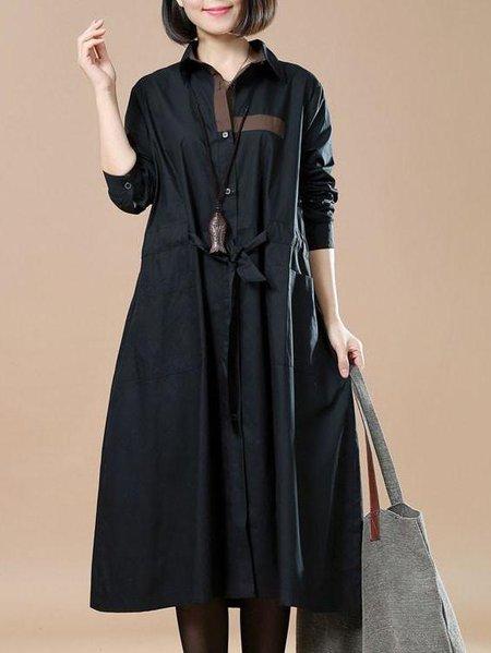 Plus Size Black Cotton Shift Long Sleeve Shirt Collar Dress