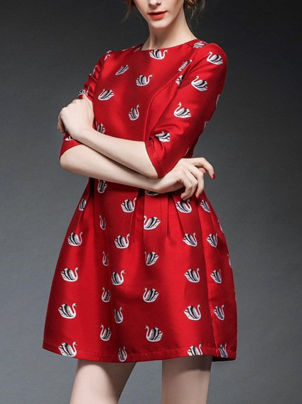 Red Embroidered Animal Casual Mini Dress
