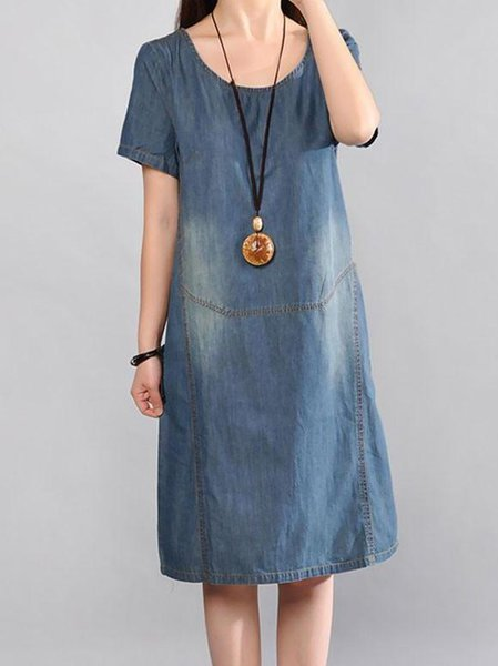 Crew Neck Short Sleeve Cotton Casual Linen Dress