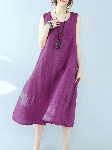 Purple Sleeveless A-line Crew Neck Cotton Linen Dress