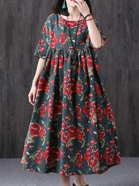 Green Crew Neck Floral-print Swing Casual Linen Dress