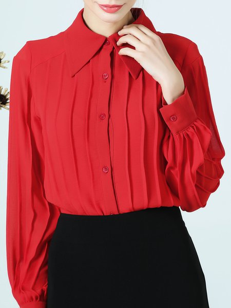 Shirt Collar Solid Ribbed Long Sleeve Casual Buttoned Blouse