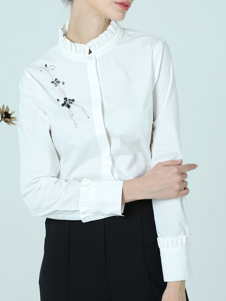 White Long Sleeve Beaded Ruffled Cotton Blouse