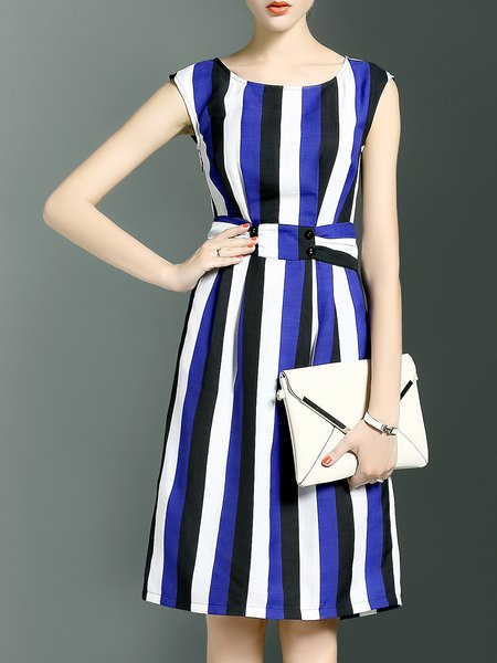 Stripes A-line Simple Sleeveless Color-block Midi Dress