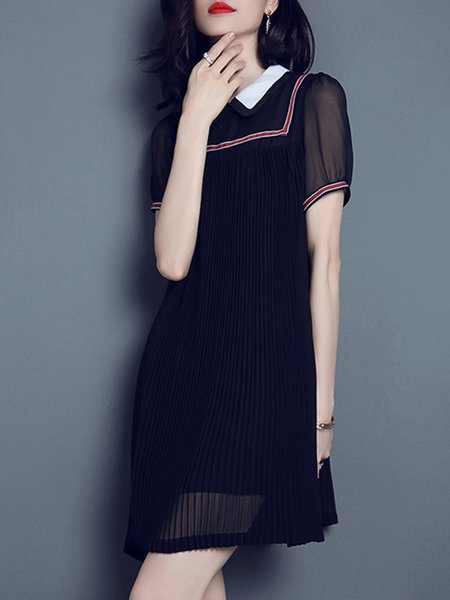 Black Peter Pan Collar Short Sleeve Pleated Mini Dress