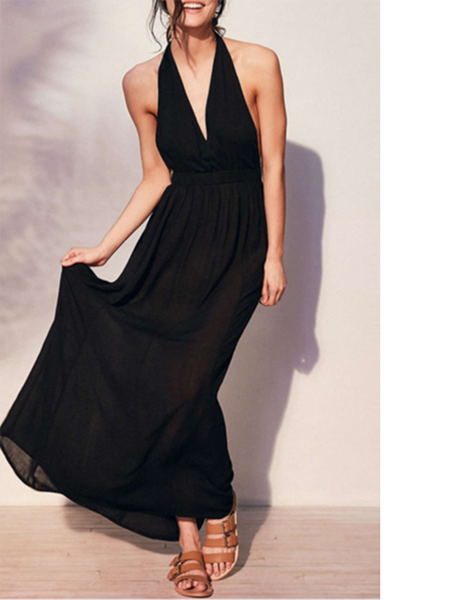 Black Sleeveless Polyester Halter Evening Dress