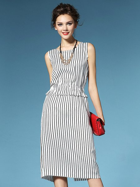 White Vintage Printed Stripes Knee Length Dress