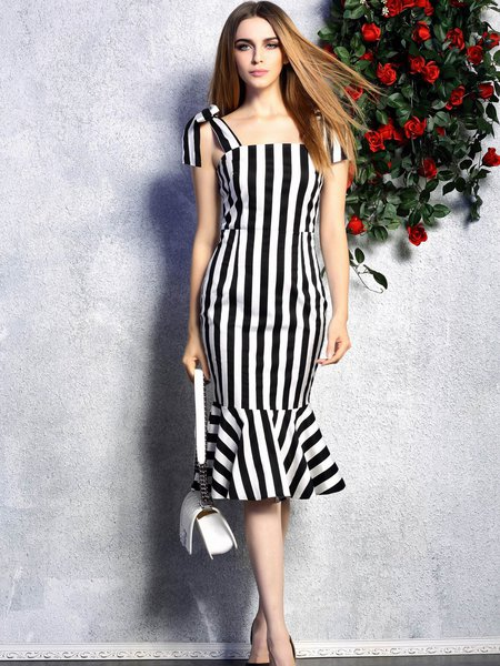 Elegant Spaghetti Stripes Midi Dress