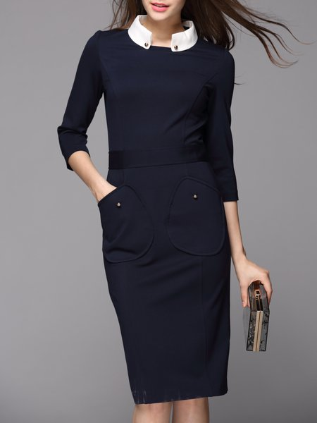 Stand Collar Dark blue Midi Dress Sheath 3/4 Sleeve Solid Dress