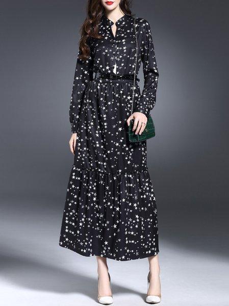 Black Long Sleeve A-line Cotton-blend Geometric Maxi Dress