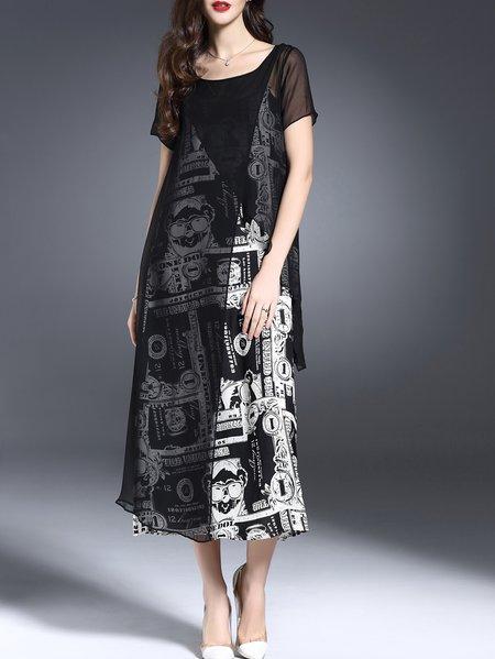 Black Paneled Short SleeveTwo Piece Maxi Dress