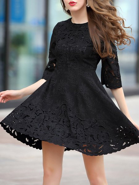 Crew Neck 3/4 Sleeve Girly Floral Mini Dress