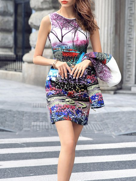Multicolor Floral Sleeveless A-line Mini Dress