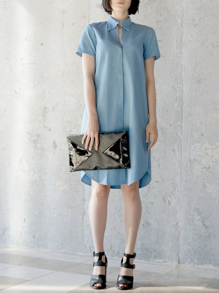 Blue Short Sleeve Cotton Shirt Dress