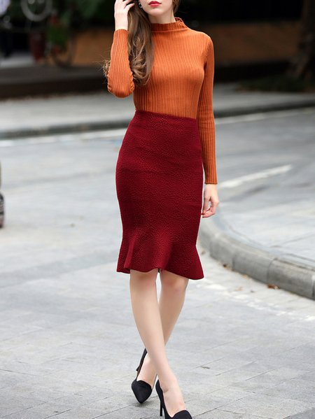 Brown Long Sleeve PolyesterTwo Piece Midi Skirt
