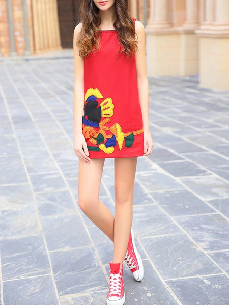 Red Abstract Embroidered Sleeveless Wool Blend Mini Dress