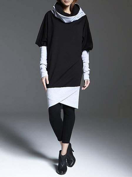 Long Sleeve Shift Turtleneck Casual Color-block Blouse