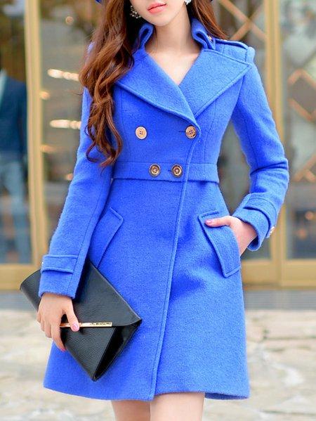 Blue Long Sleeve Wool Blend Buttoned Coat
