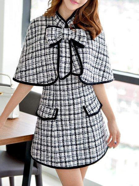 Black Woven Girly Checkered/Plaid Mini Dress