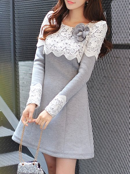 Light Gray Long Sleeve A-line Polyester Paneled Mini Dress