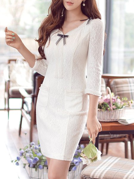 White Knitted Sheath 3/4 Sleeve V Neck Mini Dress