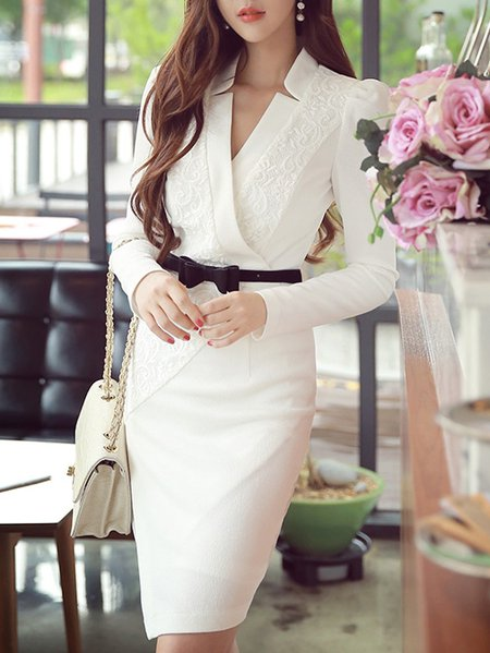 White Long Sleeve V Neck Midi Dress